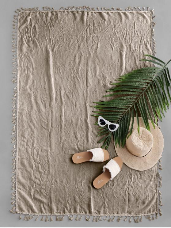 new Semi-sheer Rectangle Tassel Sunbath Beach Throw Cover - LIGHT KHAKI ONE SIZE