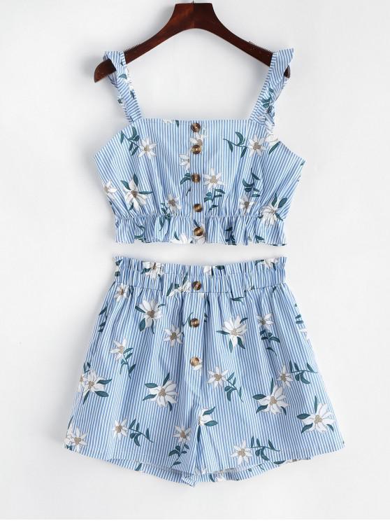lady Stripes Floral Buttoned Paperbag Shorts Set - BLUE S
