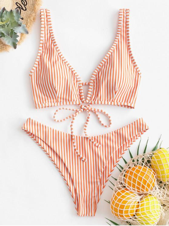 women's ZAFUL Striped V-wired High Cut Bikini Swimsuit - SANDY BROWN M