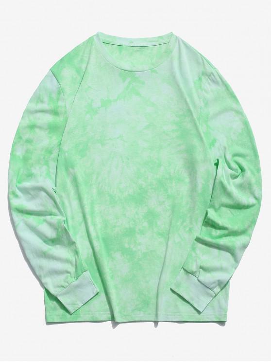 ZAFUL Tie Dye camiseta de manga larga sudadera casual - Verde Menta L
