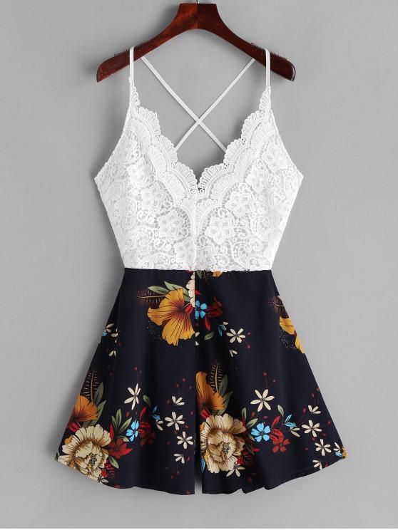 trendy Lace Panel Criss Cross Floral Cami Romper - MULTI-B XL