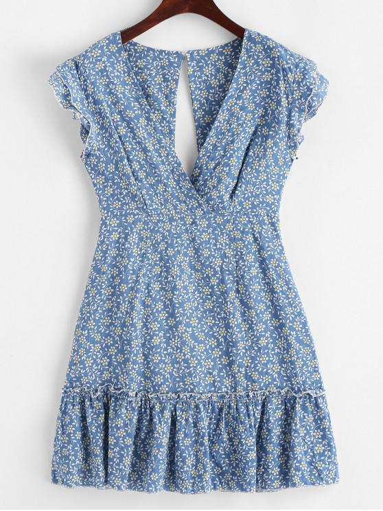affordable Knotted Back Floral Print Surplice Flare Dress - SILK BLUE S