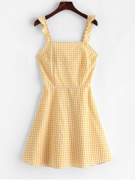 women's Knotted Back A Line Gingham Dress - YELLOW S