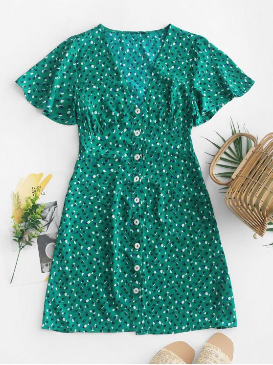 trendy Heart Print Button Up A Line Dress - GREEN M