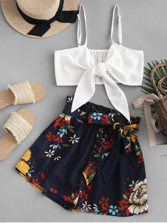 trendy ZAFUL Floral Print Knotted Belted Paperbag Shorts Set - MULTI XL