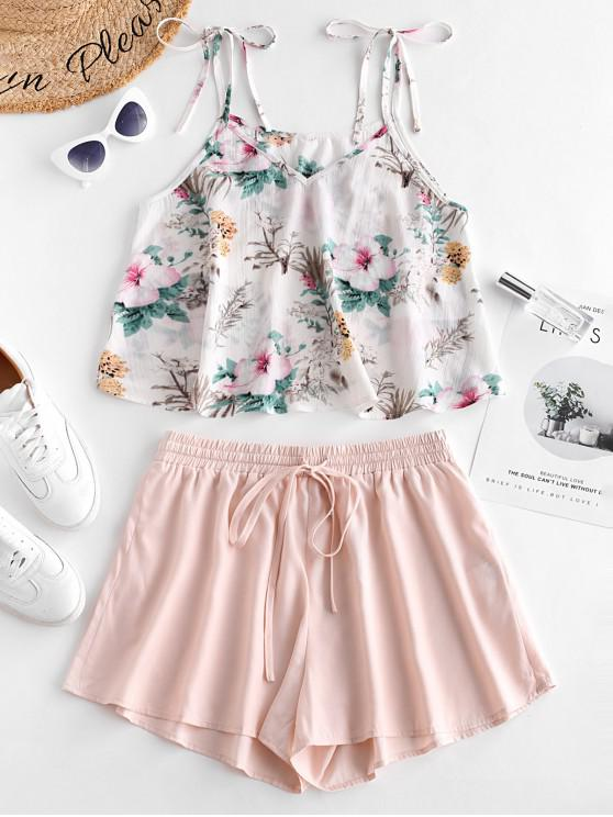 lady ZAFUL Flower Print Tie Shoulder Cami Top and Shorts Set - MULTI-D L