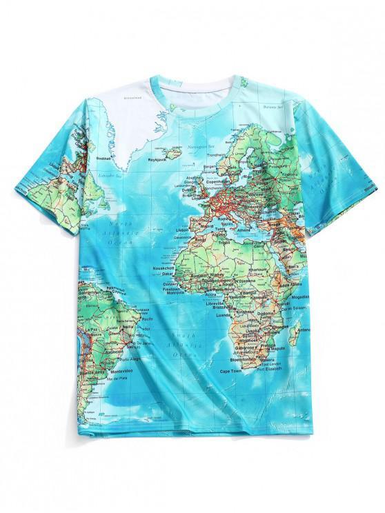 Camiseta de manga corta estampada con mapa del mundo detallado - Multicolor-B XL