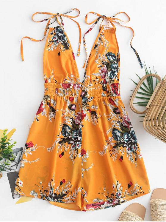 chic ZAFUL Strappy Open Back Floral Cami Romper - BEE YELLOW XL