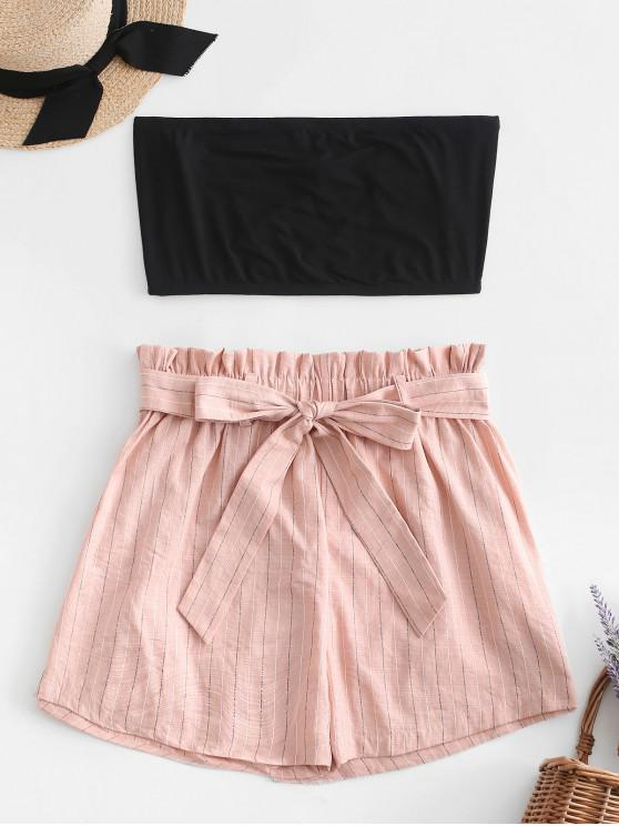 women's ZAFUL Tube Top and Striped Paperbag Shorts Set - DEEP PEACH L
