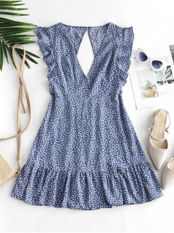 women ZAFUL Floral Ruffle Armhole Cut Out Flounce Mini Dress - BLUE KOI M