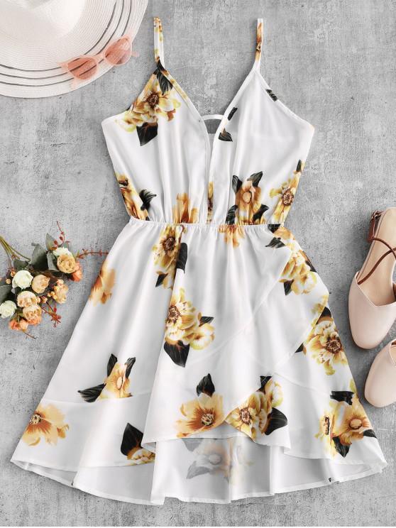 ladies Flower Print Cut Out Asymmetric Cami Dress - WHITE M