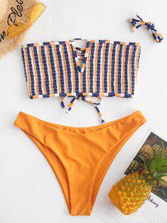 ZAFUL Striped V-wired Lace-up Smocked Bikini Swimsuit - Saffron L