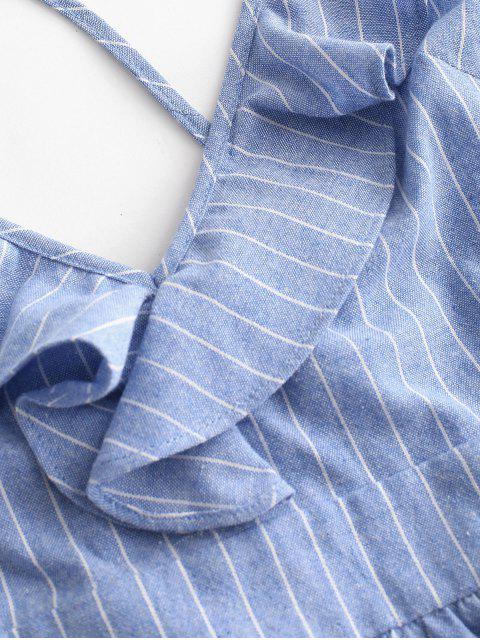 hot ZAFUL Striped Plunge Cross Back Ruffled Dress - BLUE KOI L Mobile