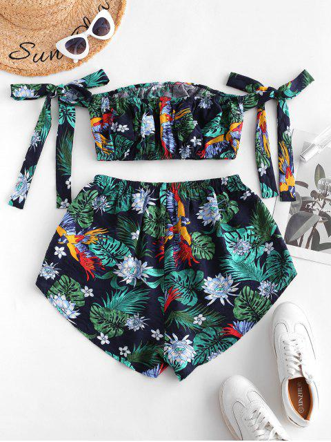 outfit ZAFUL Tropical Flower Leaf Print Crop Top and Shorts Set - MULTI-P L Mobile