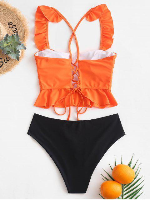 ZAFUL Ruffle Crisscross Lace-up Tankini traje de baño - Naranja de Calabaza  L Mobile