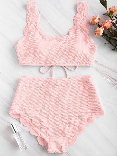 ZAFUL Ensemble de Bikini Festonné Texturé à Taille Haute - Rose Léger S Mobile