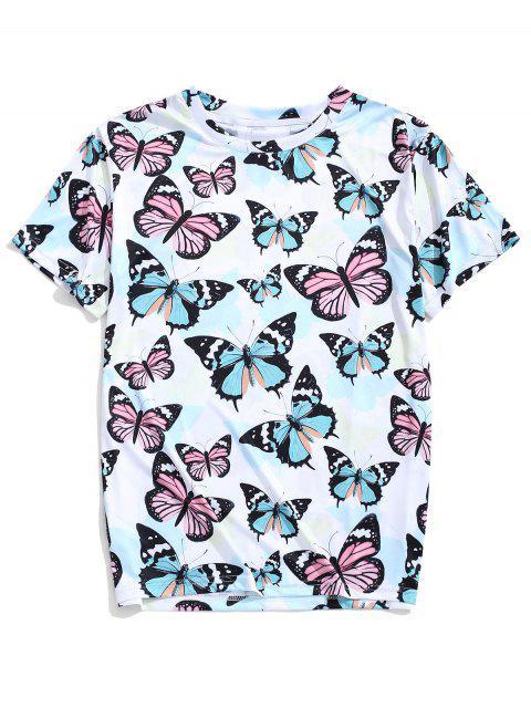 Camiseta de manga corta con estampado de mariposas de manga corta - Multicolor L Mobile