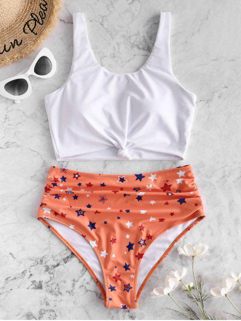 trendy ZAFUL Knot Star Print Ruched Tankini Swimsuit - SANDY BROWN L Mobile