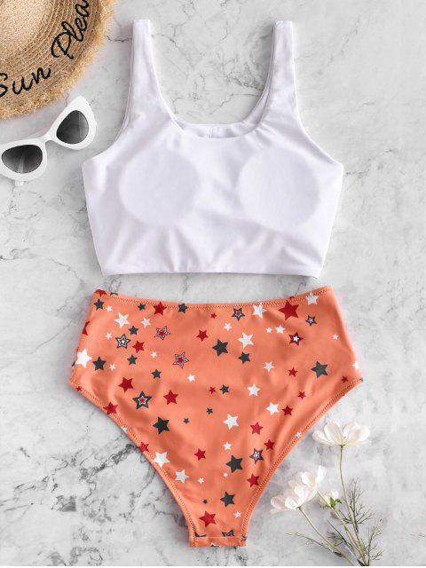 outfit ZAFUL Knot Star Print Ruched Tankini Swimsuit - SANDY BROWN M Mobile