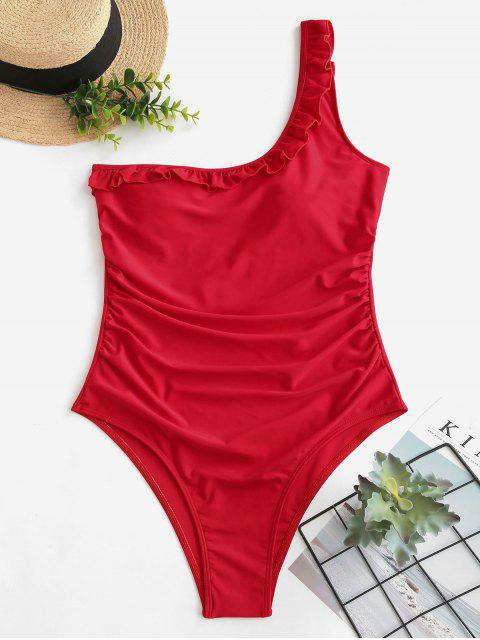 shop ZAFUL Ruffle One Shoulder Tummy Control Swimsuit - RED S Mobile