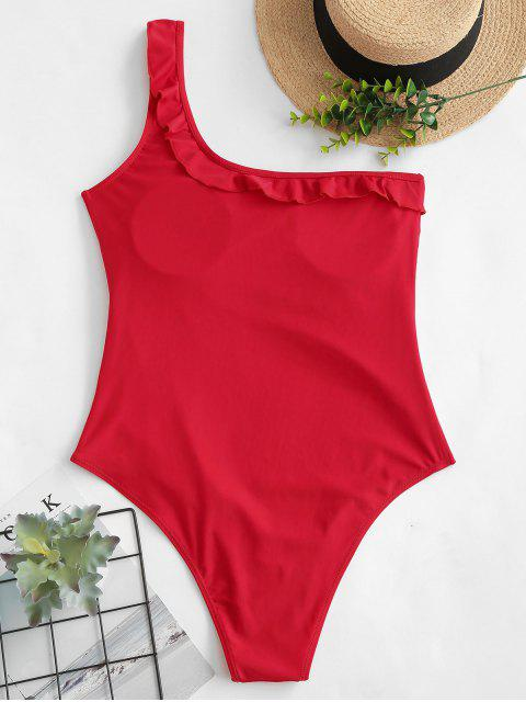 ZAFUL Ruffle - Traje de baño con control de la barriga de un hombro - Rojo M Mobile