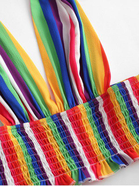 online ZAFUL Halter Smocked Rainbow Stripes Two Piece Set - MULTI L Mobile