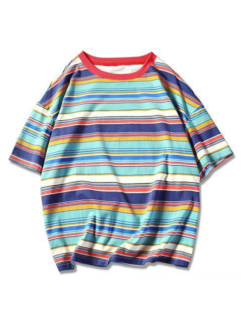 Camiseta de manga corta con estampado de rayas tribales retro - Verde M Mobile