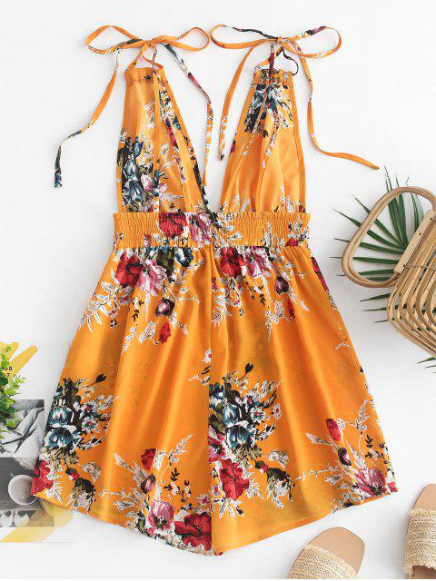 fancy ZAFUL Strappy Open Back Floral Cami Romper - BEE YELLOW S Mobile