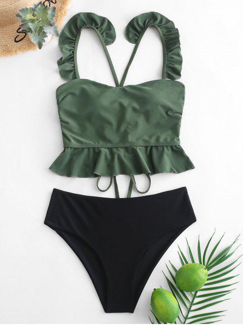 outfits ZAFUL Ruffle Crisscross Lace-up Tankini Swimsuit - SEA GREEN S Mobile