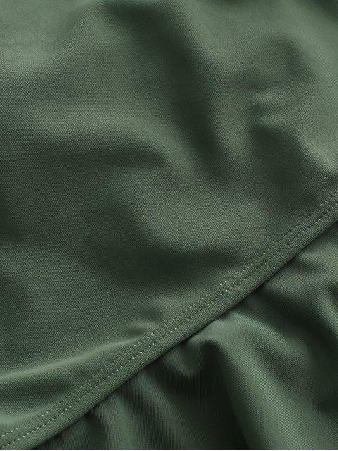 ZAFUL Ruffle Crisscross Lace-up Tankini traje de baño - Verde de Mar  XL Mobile