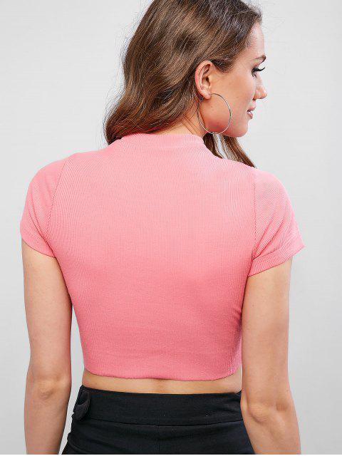 Camiseta Sólida de Cuello Redondo Con Acanalado - Cerdo Rosa L Mobile