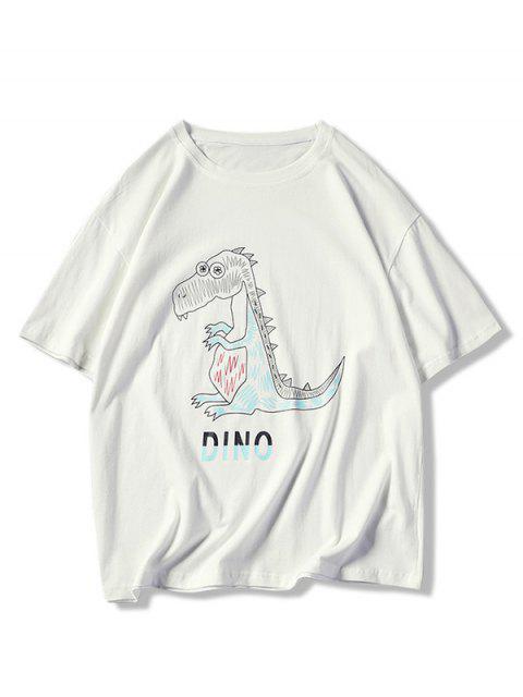 Camiseta de manga corta con estampado gráfico de dinosaurio de dibujos animados - Blanco L Mobile