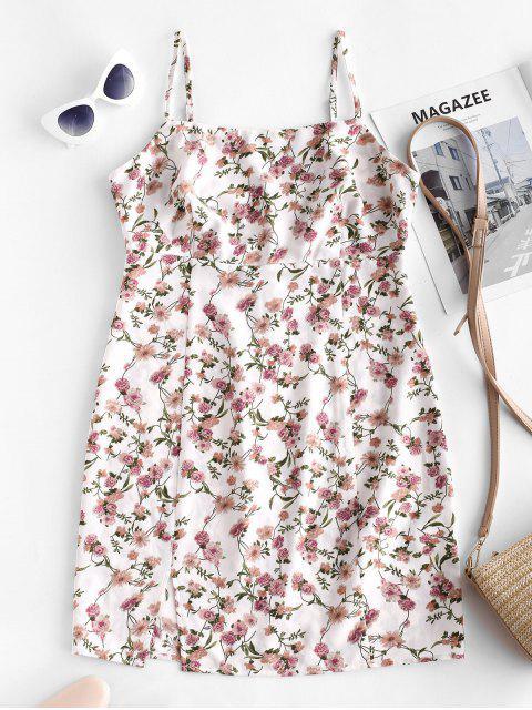 ZAFUL Mini Robe Tunique Fendue Fleurie à Bretelle - Blanc Lait L Mobile