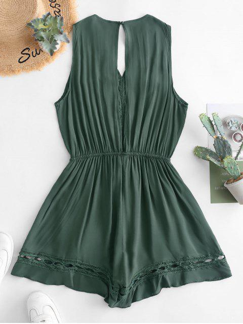 new Crochet Panel Knotted Wide Leg Romper - GREEN M Mobile