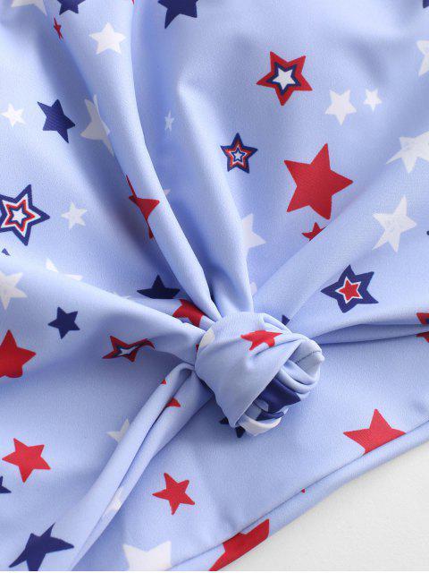 ZAFUL Tankini de Bandera Americana y Nudo - Azul Oscuro de Denim L Mobile