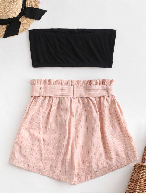 affordable ZAFUL Tube Top and Striped Paperbag Shorts Set - DEEP PEACH M Mobile