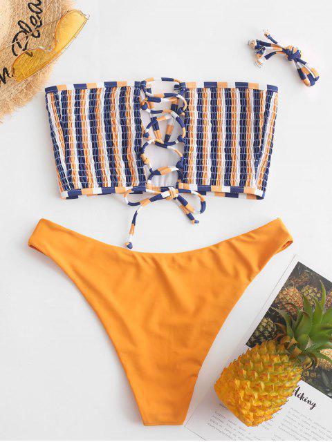 ZAFUL Bikini Bikini Smocked A Rayas A Rayas Con Cordones - Azafrán L Mobile