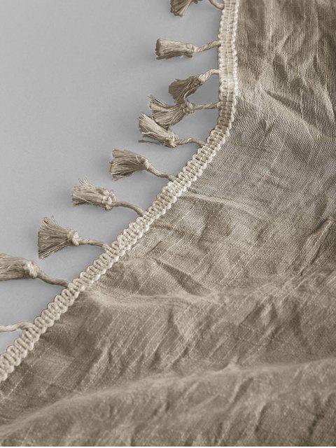 Semi-Schiere-Rechteck -Quaste- Sunbath- Strand- Throw -Abdeckung - Helles Khaki Eine Größe Mobile