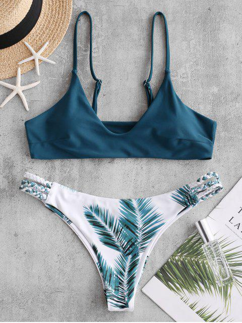 outfit ZAFUL Braided Strappy Leaf Bralette Bikini Swimsuit - PEACOCK BLUE S Mobile