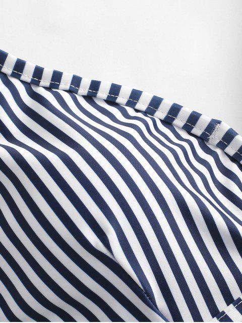 ZAFUL Полосатый принт Высокий вырез Купальник Бикини V-форма - Темный-шифер синий L Mobile