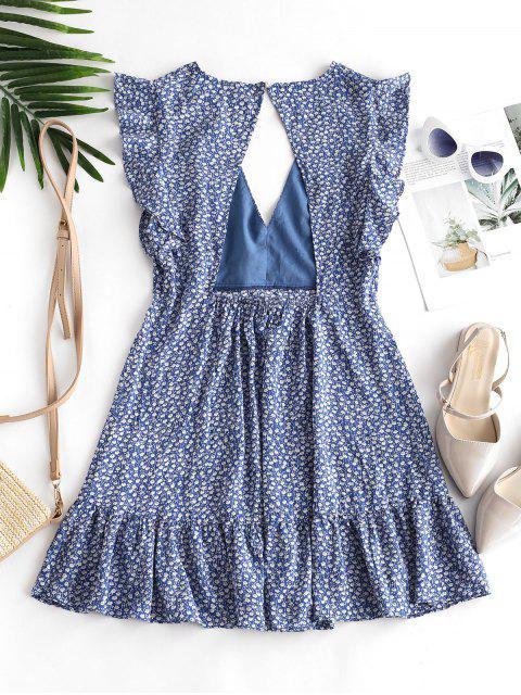 lady ZAFUL Floral Ruffle Armhole Cut Out Flounce Mini Dress - BLUE KOI S Mobile