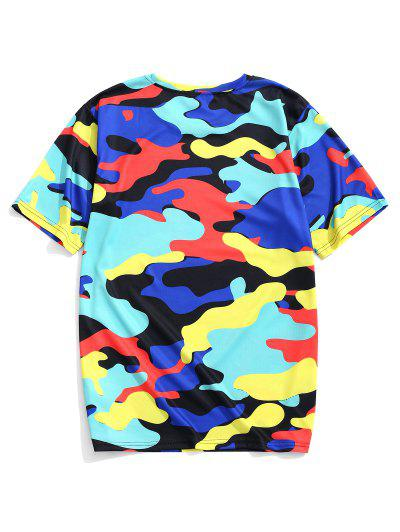 1a4115f376a68 ... Colorful Camouflage Print Short Sleeves Casual T-shirt - Blueberry Blue  M