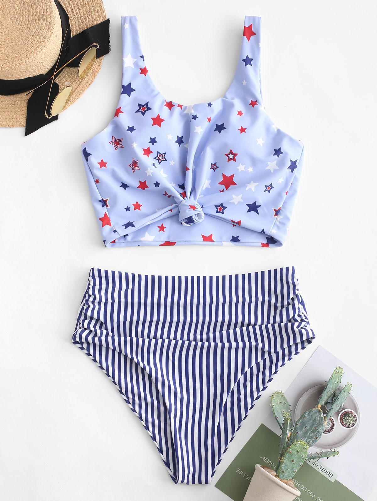 ZAFUL Knot Ruched American Flag Tankini Swimsuit, Denim dark blue