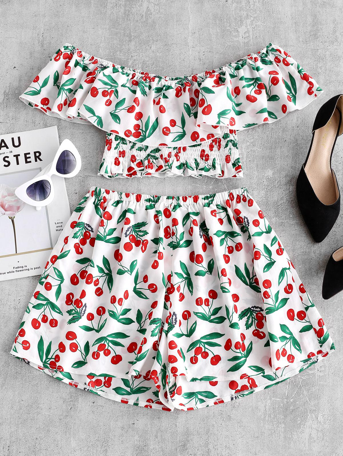 ZAFUL Cherry Print Flounce Smocked Two Piece Set, White