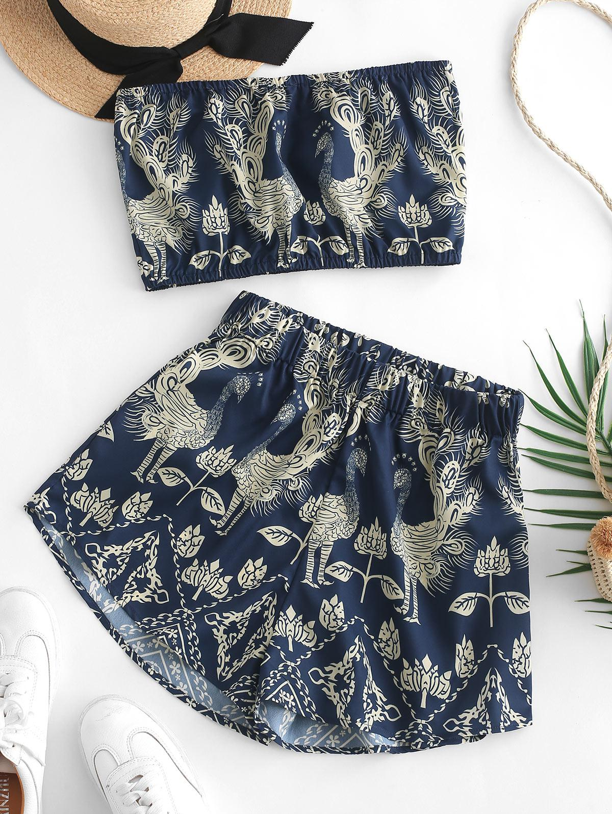 ZAFUL Peacock Printed Bandeau Top And Shorts Set, Midnight blue