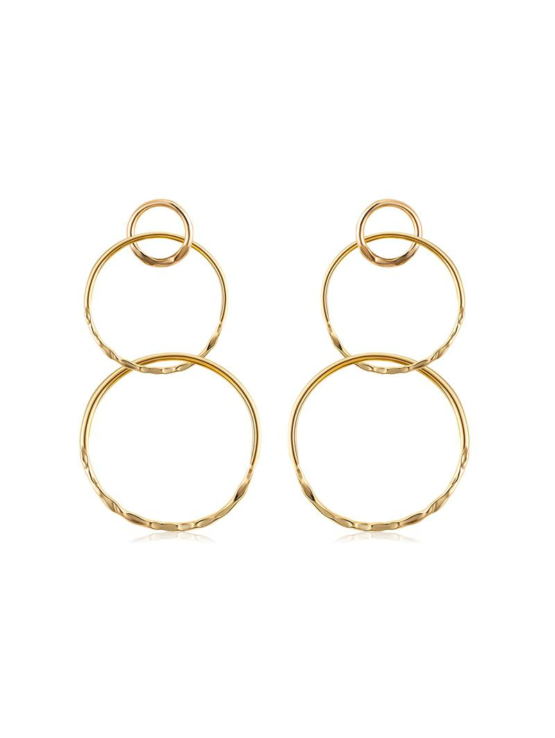 Alloy Layered Round Earrings, Gold