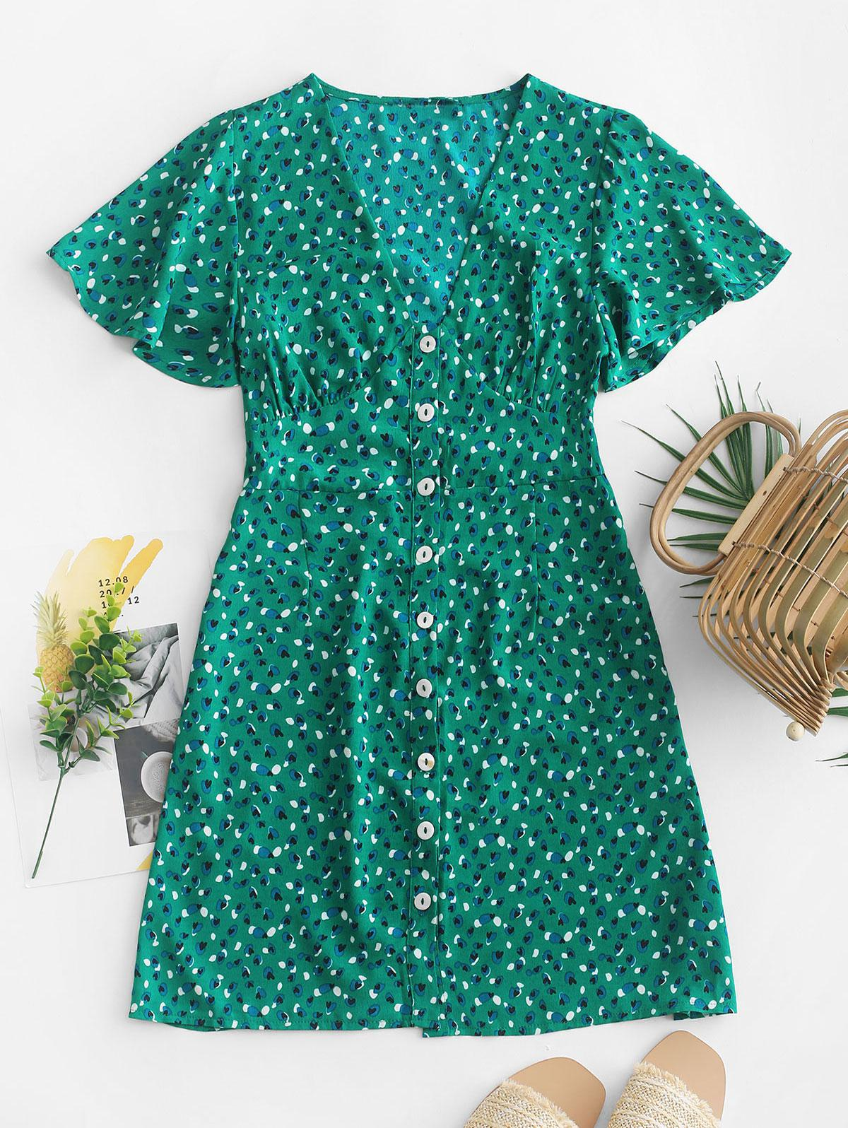 Heart Print Button Up A Line Dress, Green