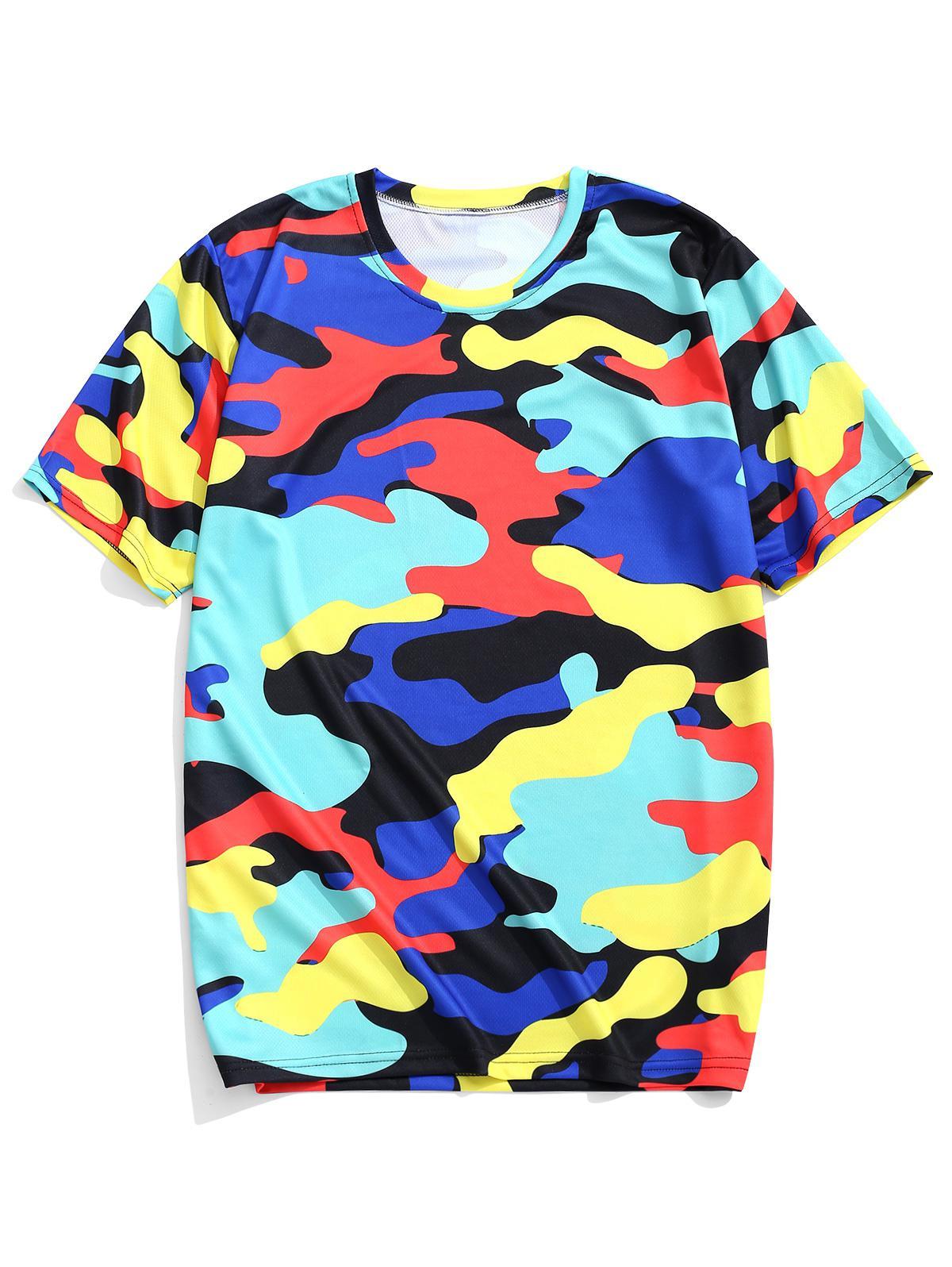 Colorati Stampa Mimetica Maniche corte Casual T-shirt