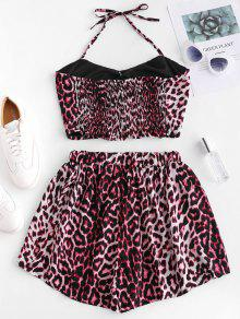 4b9e50024a17 16% OFF] [NEW] 2019 Buttons Leopard Print Top And Loose Shorts Set ...