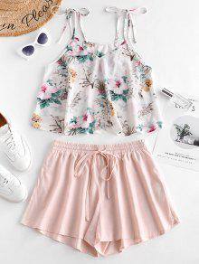 Flower Print Tie Shoulder Cami Top And Shorts Set